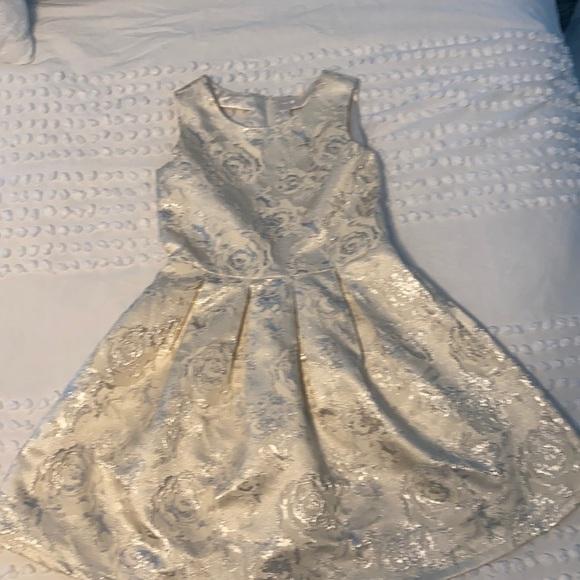 Girls Jacquard Cream Floral Formal Dress